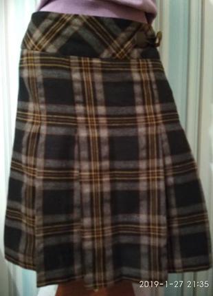 Шикарная юбка в клетку коричневая шерстяная от canda