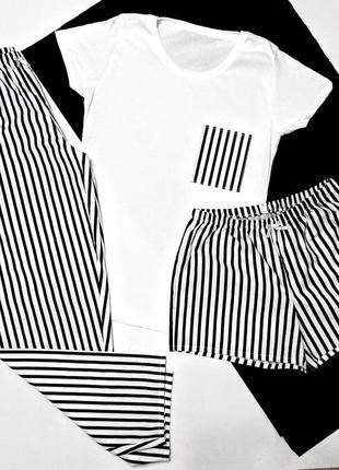 Пижама, комплект для сна и дома, футболка, шорты и штаны с принтом полоска