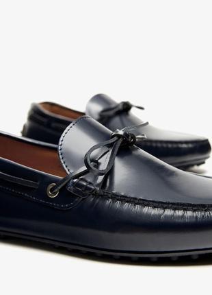 Синие кожаные туфли ,мокасины massimo dutti