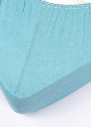 Простынь трикотажная на резинке - бирюзовая 160*200+25 см