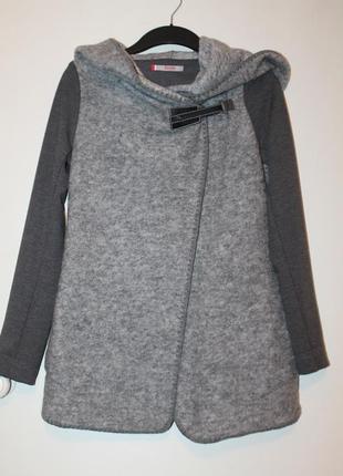 Теплый шерстяной кардиган dolcedonna by elena golets. серая кофта с капюшоном, пальто