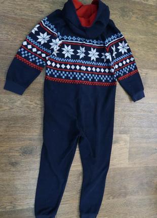 Теплая флисовая пижамка человечек