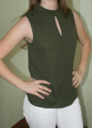 Хаки майка/блузка/блуза с вырезом