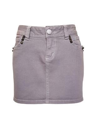 Джинсовая юбка с шипами troll