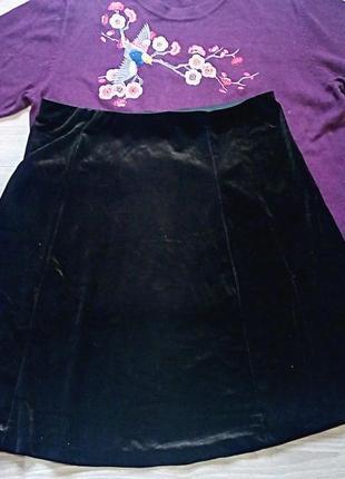 Стильная бархатная, чёрная юбка от atmosphere