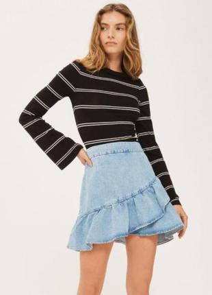 Обалденная джинсовая юбка рюши topshop