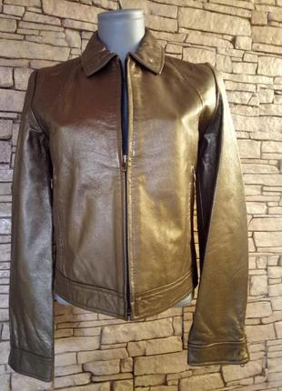 Куртка бронза,золото,натуральная кожа,40-42 размер1