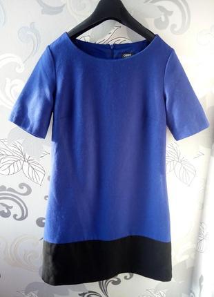 Яркое короткое теплое шерстяное синее черное платье oasis