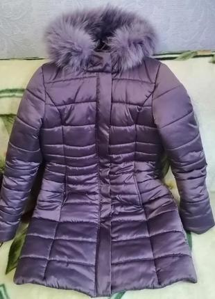 Куртка с капюшоном мех  зима синтепон