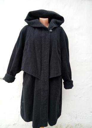 Шерстяное графитовое пальто с капюшоном oversize,большой размер,парка,батл.