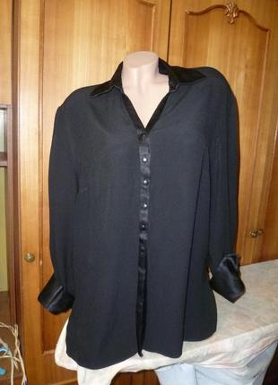 Красивейшая черная блузка-рубашка-туника струящаяся,винтаж,с длинным рукавом,весна-осень