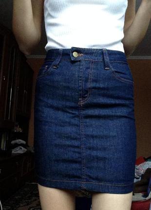 Новая идеальная джинсовая мини юбка,top shop,высокая посадка,талия.