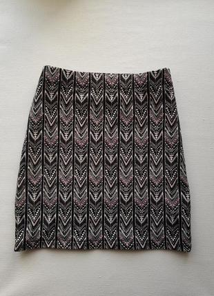 Стильная мини юбка в орнамент,хлопковая юбка,обтягивающая юбка в узор,юбка гобелен