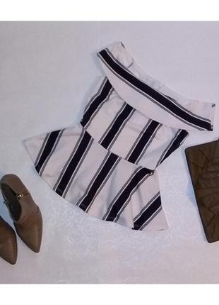 Шикарная блуза с баской! new look! размер 6!