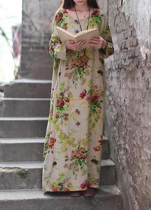 Платье ,цветочный принт,карманы,бохо,хлопок ,лен