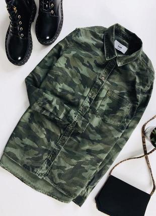 Джинсовая камуфляжная рубашка с воротником и длинным рукавом