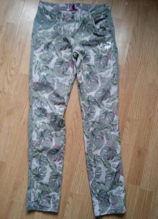 Штаны брюки джинсы цветочный принт