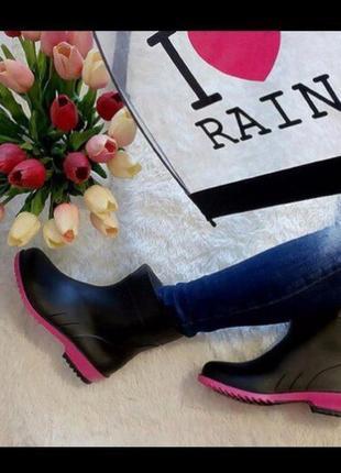Р. 36 37  39 40 41 полусапоги/ сапоги резиновые женские черн с ярко-розов