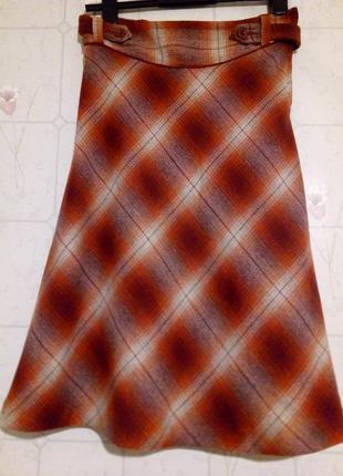 Трендовая юбка миди в клетку а-силуета, оранжевый, бежевый, бордовый(марсала) цвет