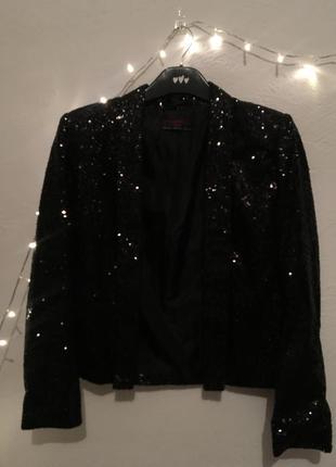 Шикарный пиджак в паетках от new look