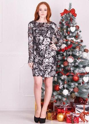 Классное вечернее платье, полностью в паетках, размер л