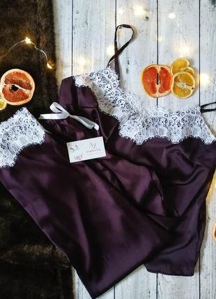 Шелковая пижама майка брюки и шорты