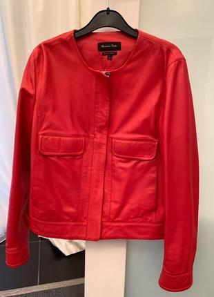 Кожаная красная коралловая  куртка massimo dutti, испания, 36 р
