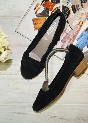 5th avenue! замша/кожа! красивые фирменные туфли на удобном каблучке