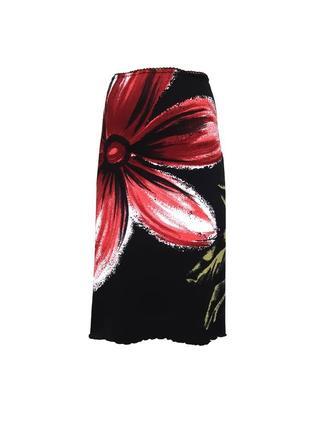 Летняя юбка с крупным цветочным принтом