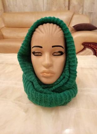 Распродажа! зелёный вязаный шарф хомут платок. тёплый вязаный шарф