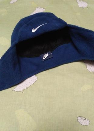 Синяя флисовый шапка-ушанка р-р 50 nike
