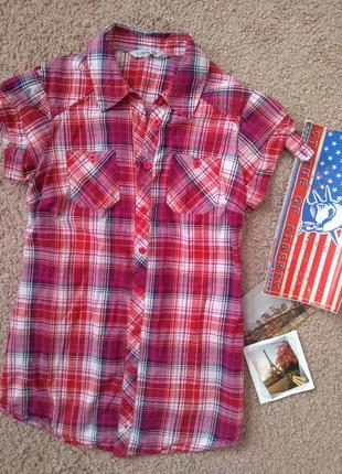 Рубашка женская clockhouse c&a размер s короткий рукав 100% хлопок