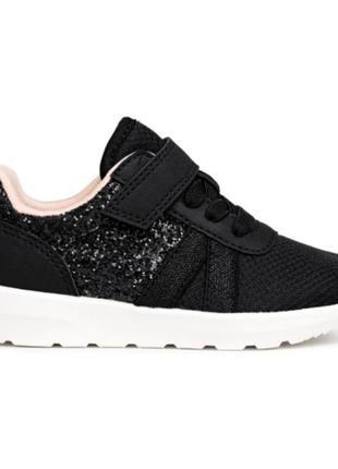 Легкие кроссовки с черным глиттером, лентяйки, текстиль, h&m, 22 см