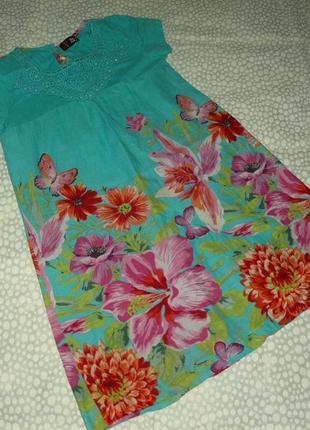Красивое платье цветы 10-12 лет
