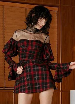 Крутое платье принт клетка  хит продаж 2019