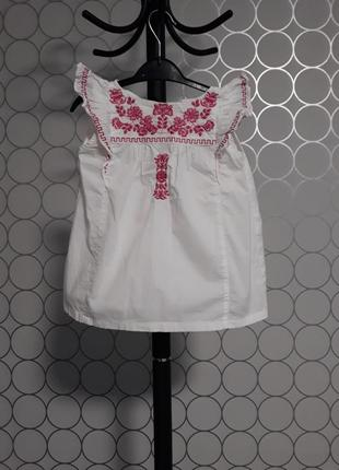 Белое хлопковое платье с вышивкой