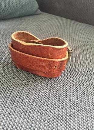 Распродажа! крутой стильный кожаный браслет рыжий коричневый