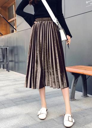 Женская плиссированная длинная юбка бархатная кофейная