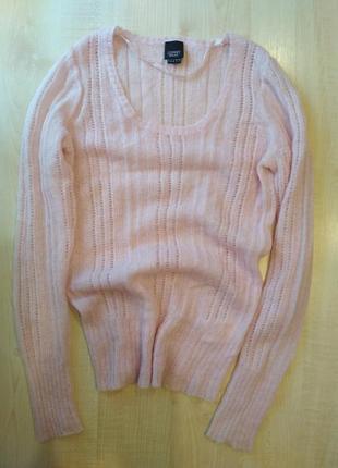 Джемпер свитер кофта ажур пушистый мягкий светр шерсть мохер пудра паутина
