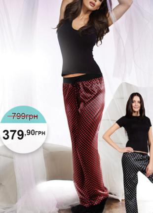 Пижамные шелковые штаны в горошек от s до xl