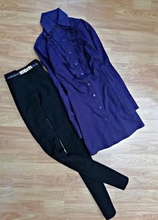 Нарядная удлиненная рубашка с оборками - производство италия - размер 44