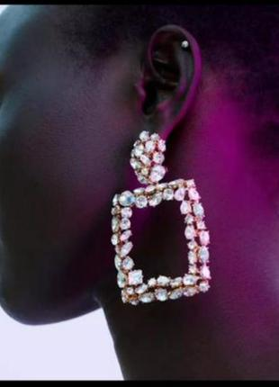 Серьги свадебные геометрия в стиле zara кристалы сережки