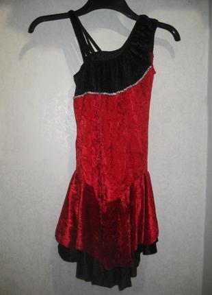 Платье купальник танцевальное бальное для латинских бальных танцев красное чёрное
