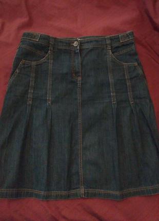 Джинсовая юбка трапеция 50-52