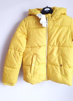 Теплая водонепроницаемая курточка яркого желтого цвета 128-135 см. george