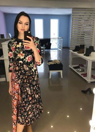 Платье zara s длинное печворк в цветочек