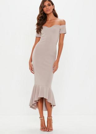 Обалденное миди платье на плечи с воланом