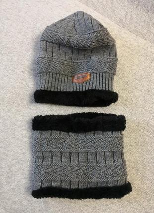 Зимняя шапка с бафом (снуд)