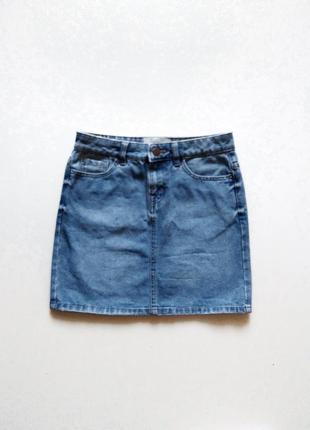 Прямая джинсовая юбка с потертостями 100% cotton,р. xs