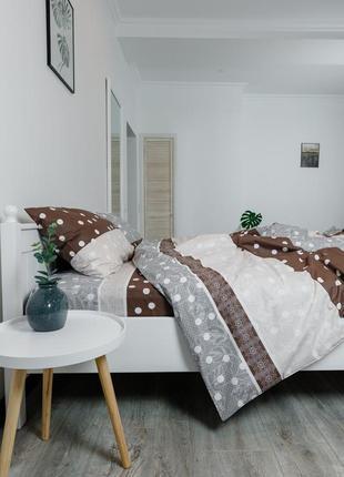 """Полуторный комплект постельного белья из ранфорса """"кружево"""" с простынью на резинке"""